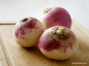 Turnip roots on table